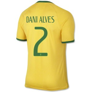 Camiseta del Dani Alves Brasil de la Seleccion Primera WC2014