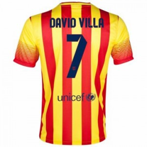 Camiseta Barcelona David Villa Segunda Equipacion 2013/2014