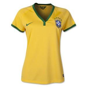 Mujer Camiseta del Brasil de la Seleccion Primera WC2014