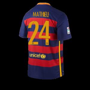 Camiseta del Numero 24 MATHIE Barcelona Primera Equipacion 2015/2016